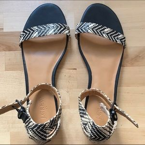J.Crew Black and White Woven Sandals